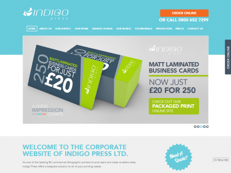 Indigo Press Website Home - Business cards