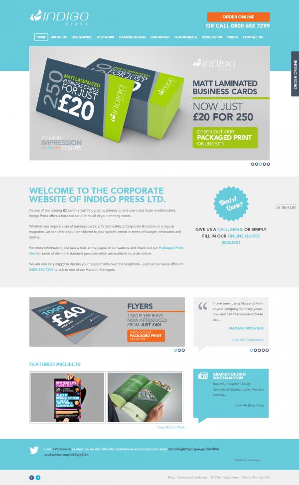 Indigo Press Website Home - Business cards